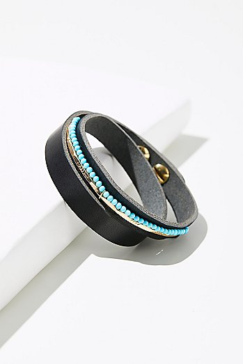 Luis Leather Stone Wrap Cuff