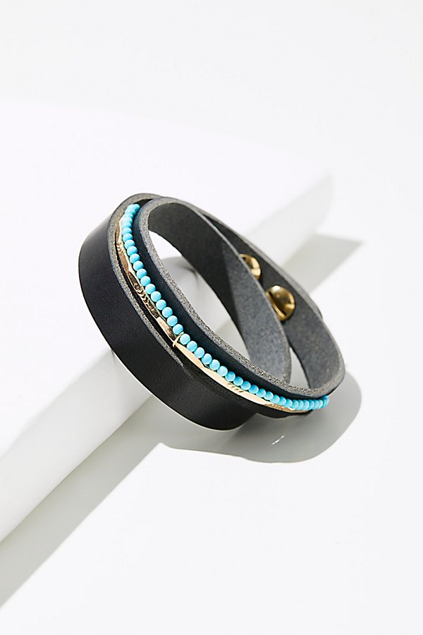 Slide View 1: Luis Leather Stone Wrap Cuff