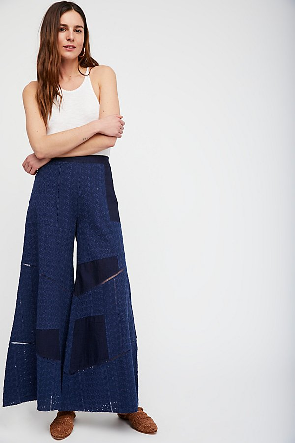 Slide View 1: Patched Eyelet Wide Leg Trousers