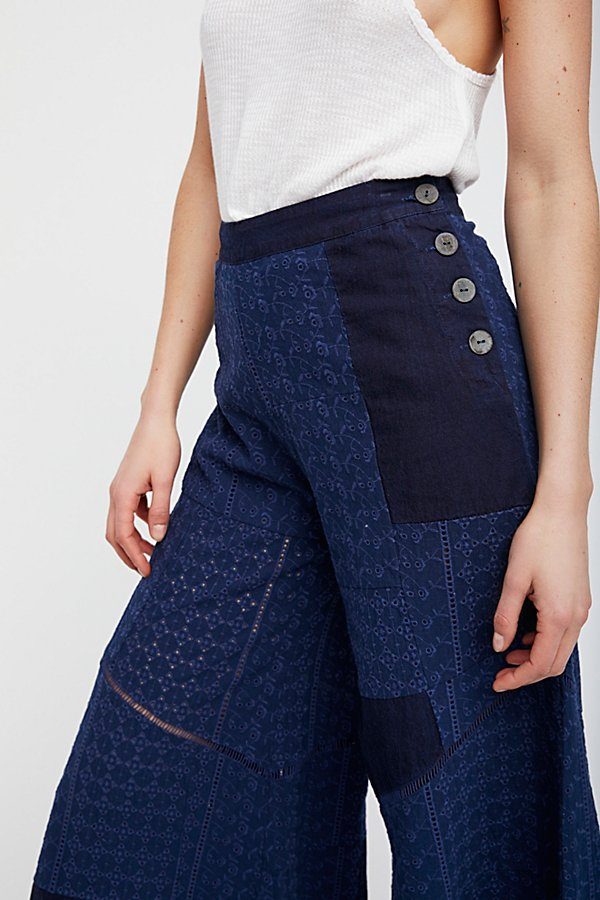 Slide View 3: Patched Eyelet Wide Leg Pants