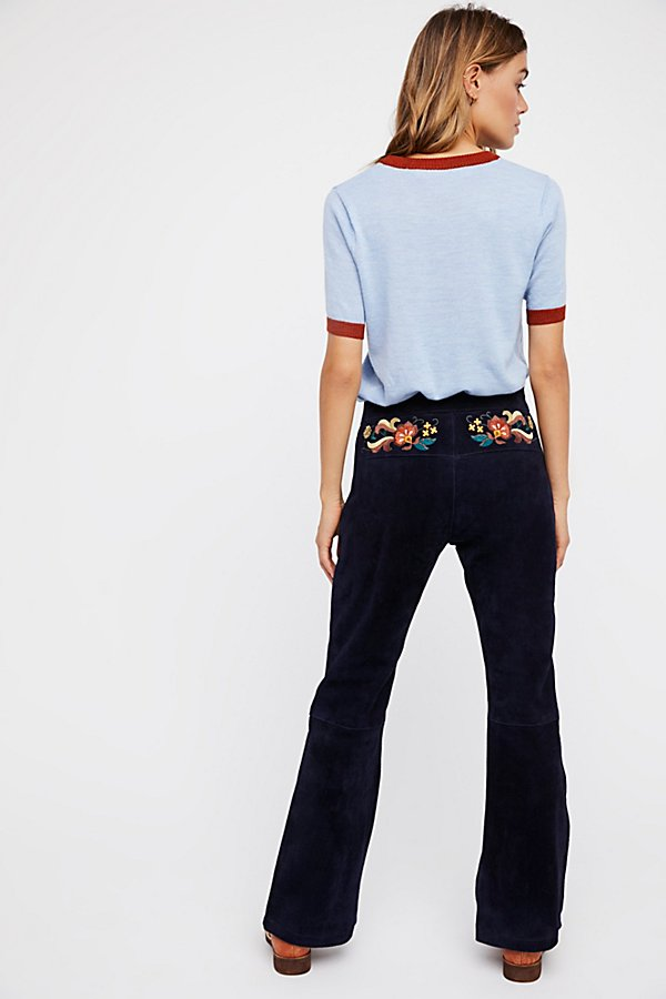 Slide View 1: Embroidered Suede Pant