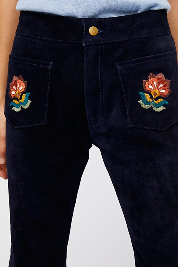 Slide View 4: Embroidered Suede Pant