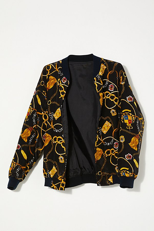 Slide View 1: Vintage 1980s Chain Motif Bomber Jacket