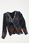 Thumbnail View 1: Vintage 1980s Chevron Sequin Top