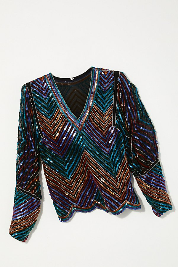 Slide View 1: Vintage 1980s Chevron Sequin Top