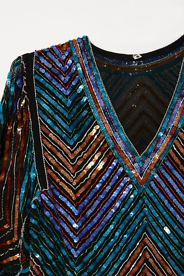 Slide View 2: Vintage 1980s Chevron Sequin Top