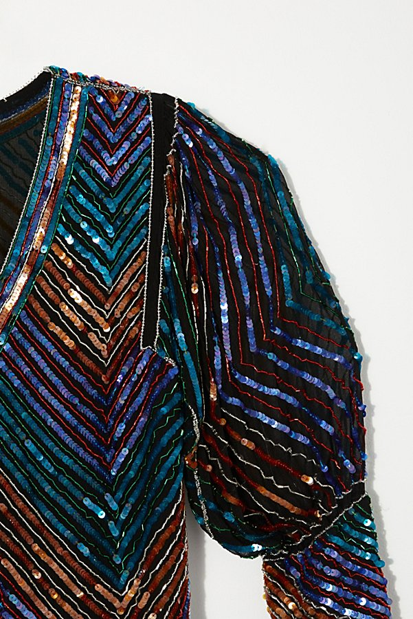 Slide View 3: Vintage 1980s Chevron Sequin Top