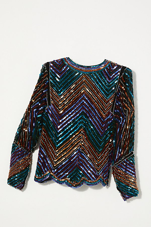 Slide View 4: Vintage 1980s Chevron Sequin Top