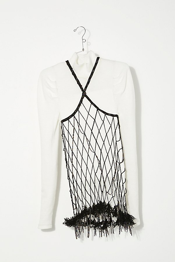 Slide View 1: Vintage 1980s Beaded Net Top