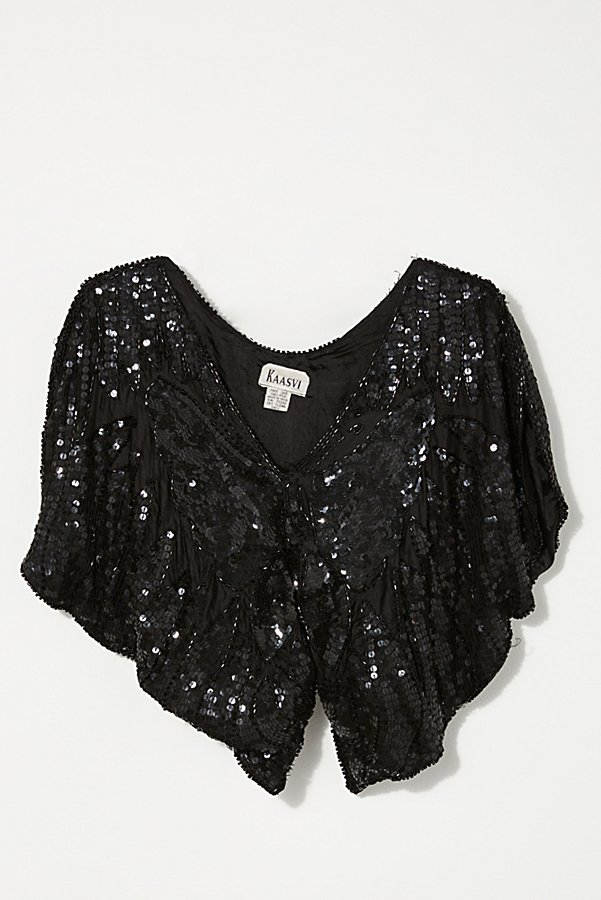 Slide View 1: Vintage 1980s Sequin Butterfly Top
