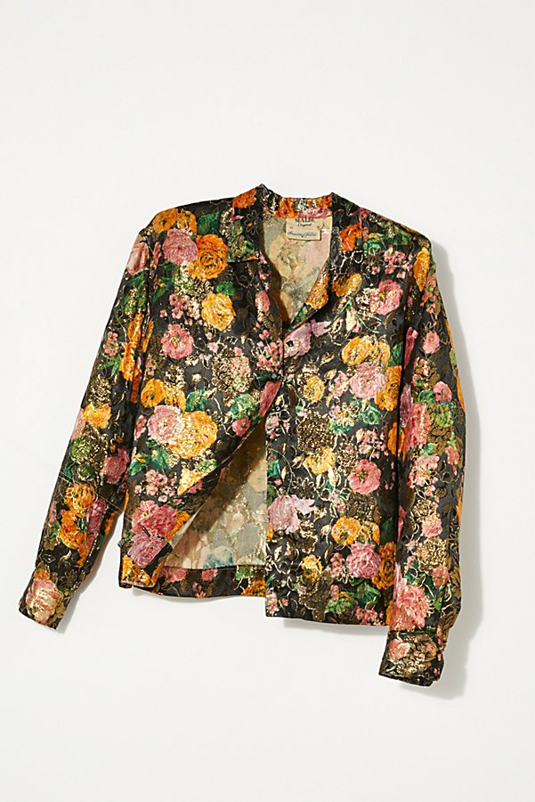 Slide View 1: Vintage 1960s Metallic Floral Shirt