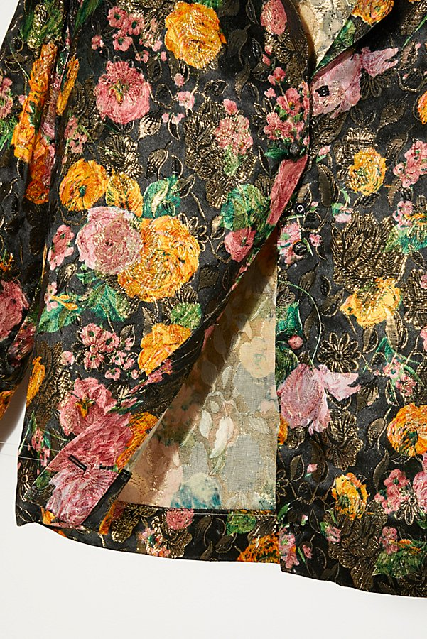 Slide View 2: Vintage 1960s Metallic Floral Shirt