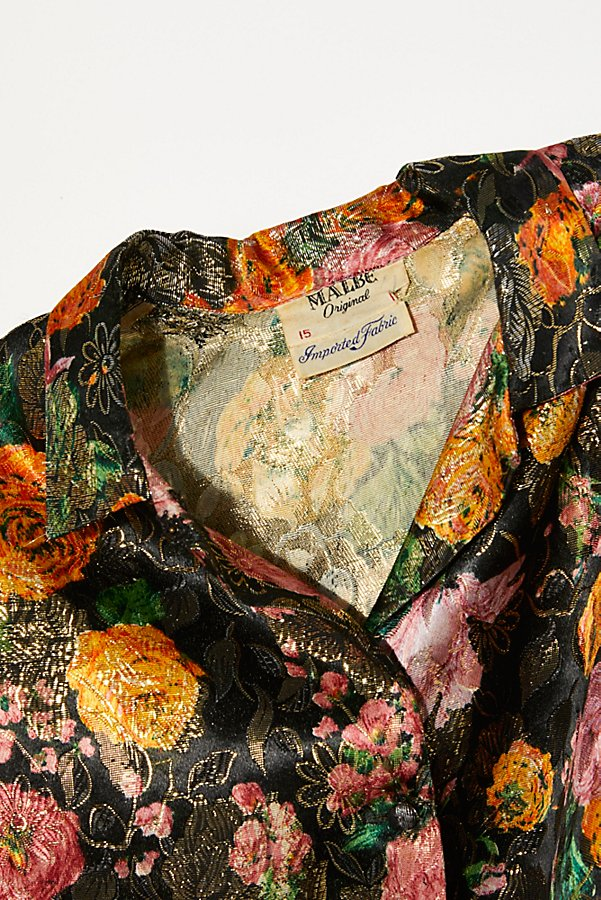 Slide View 3: Vintage 1960s Metallic Floral Shirt