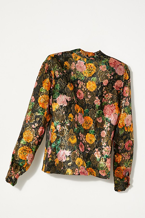 Slide View 4: Vintage 1960s Metallic Floral Shirt
