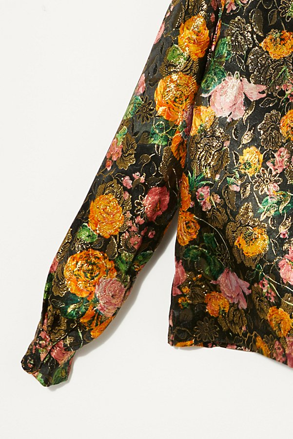 Slide View 5: Vintage 1960s Metallic Floral Shirt