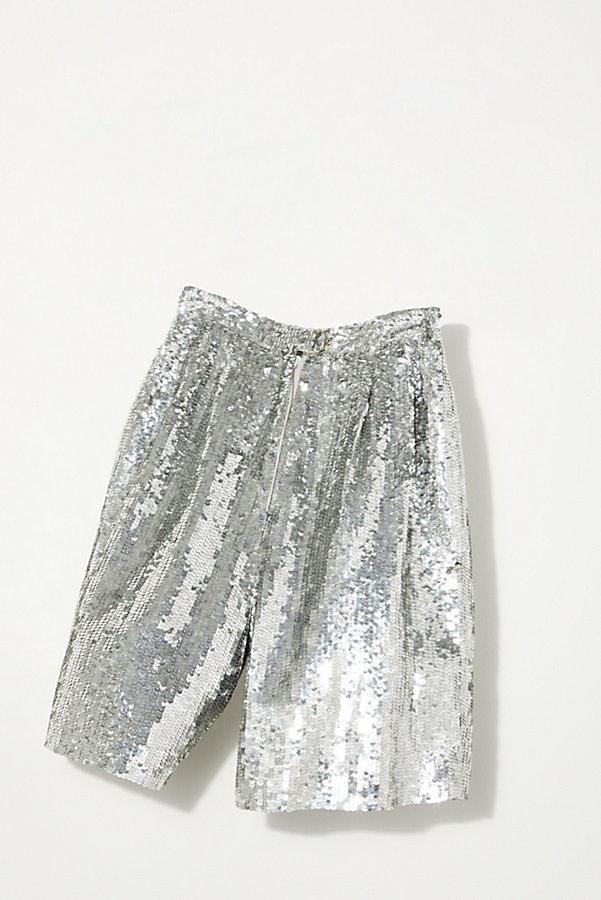 Slide View 2: Vintage 1980s Silver Sequin Shorts