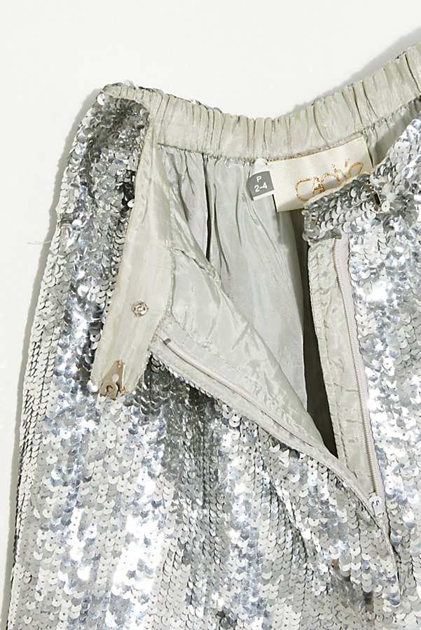 Slide View 3: Vintage 1980s Silver Sequin Shorts
