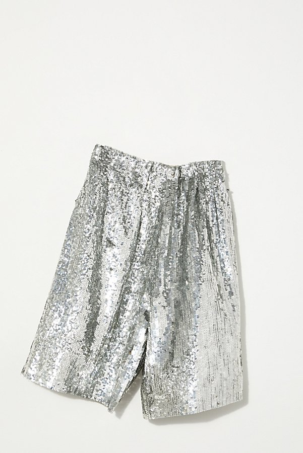 Slide View 5: Vintage 1980s Silver Sequin Shorts