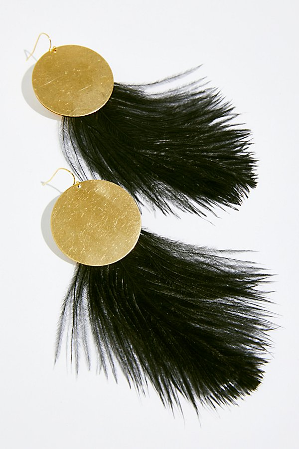 Slide View 2: Full Moon Feather Hoops