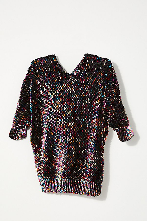 Slide View 1: Vintage 1980s Rainbow Sequin Sweater