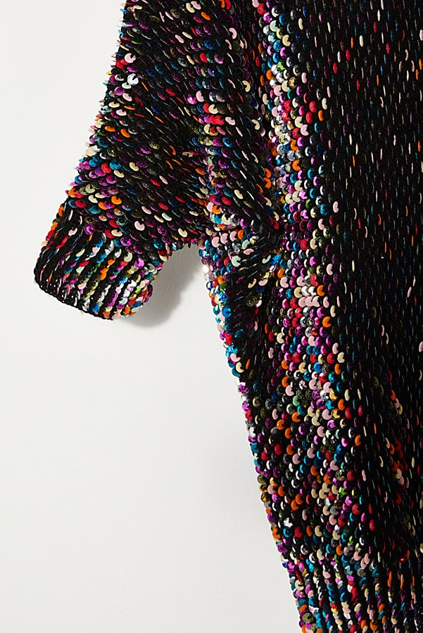 Slide View 2: Vintage 1980s Rainbow Sequin Sweater