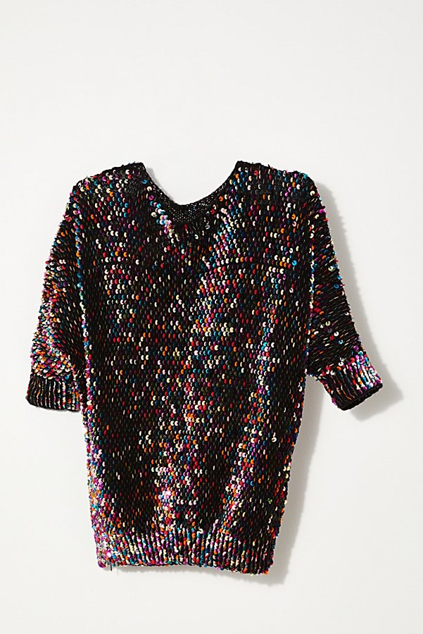 Slide View 3: Vintage 1980s Rainbow Sequin Sweater