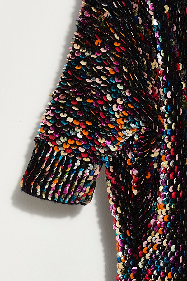 Slide View 4: Vintage 1980s Rainbow Sequin Sweater