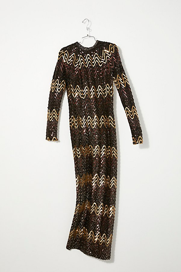 Slide View 1: Vintage 1960s Chevron Sequin Dress