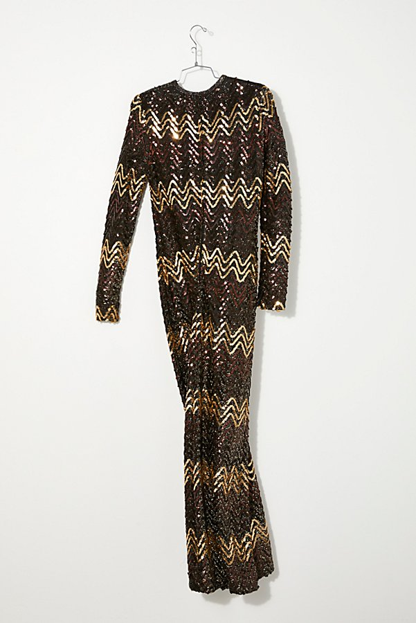 Slide View 2: Vintage 1960s Chevron Sequin Dress