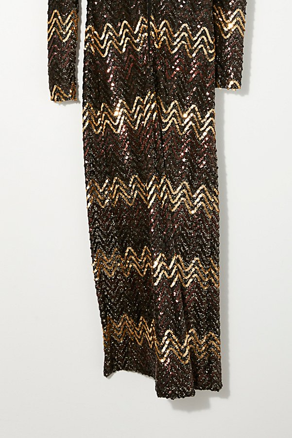 Slide View 3: Vintage 1960s Chevron Sequin Dress