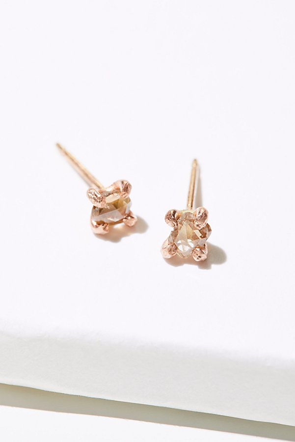 Slide View 2: Rose Cut Champagne Diamond Studs