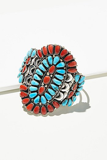 Coral & Turquoise Cluster Cuff