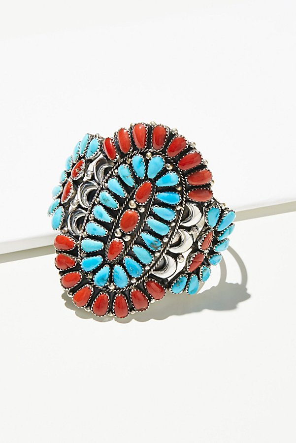 Slide View 4: Coral & Turquoise Cluster Cuff