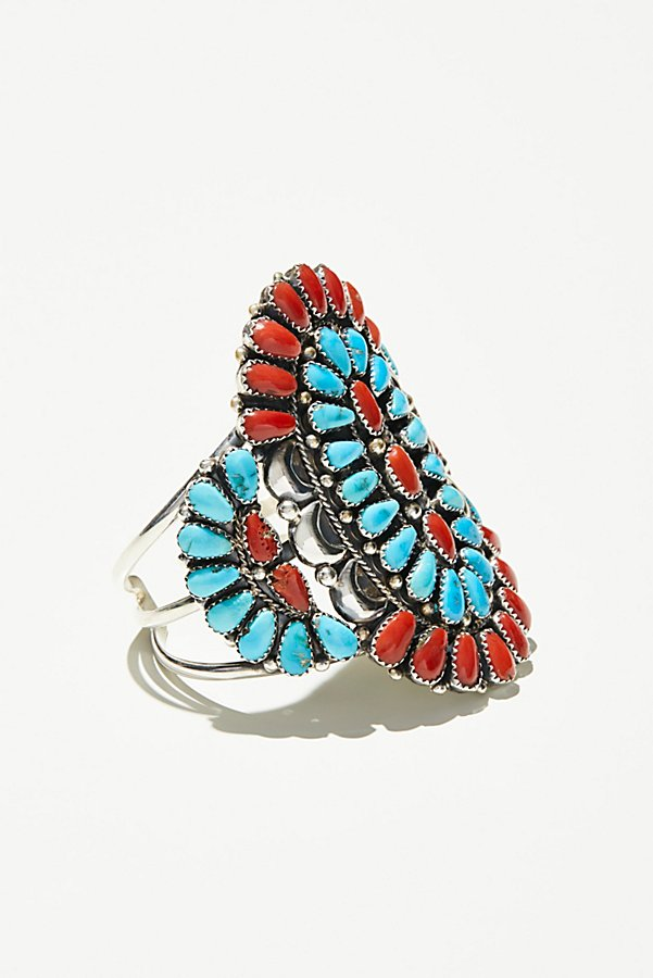 Slide View 1: Coral & Turquoise Cluster Cuff
