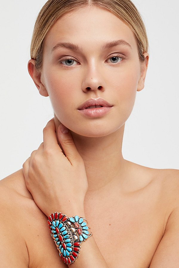 Slide View 3: Coral & Turquoise Cluster Cuff