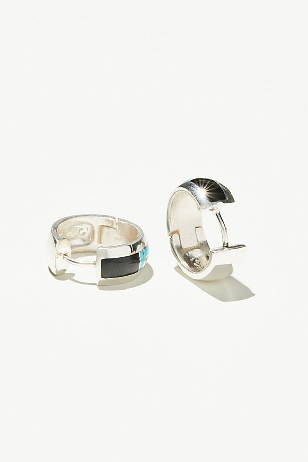 Slide View 2: Sterling Inlay Stone Huggie Hoops