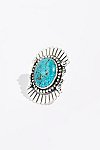 Thumbnail View 1: Feather Stamped Sterling Turquoise Ring