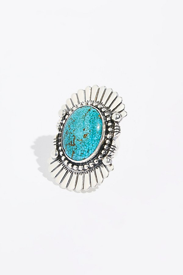 Slide View 1: Feather Stamped Sterling Turquoise Ring