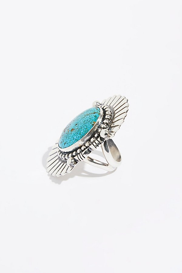 Slide View 2: Feather Stamped Sterling Turquoise Ring