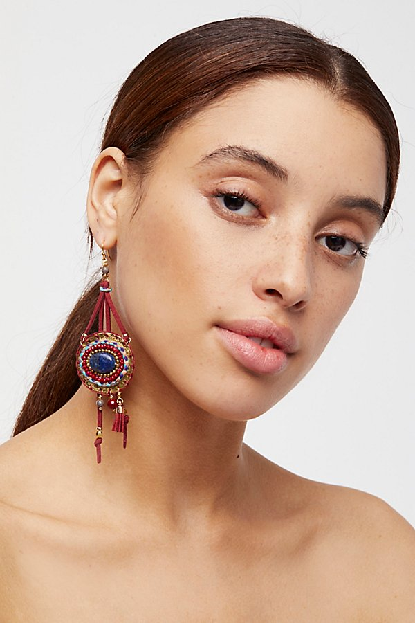 Slide View 1: Beaded Beaches Leather Earrings