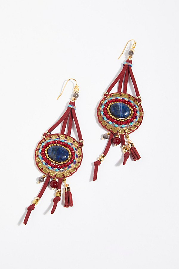 Slide View 2: Beaded Beaches Leather Earrings