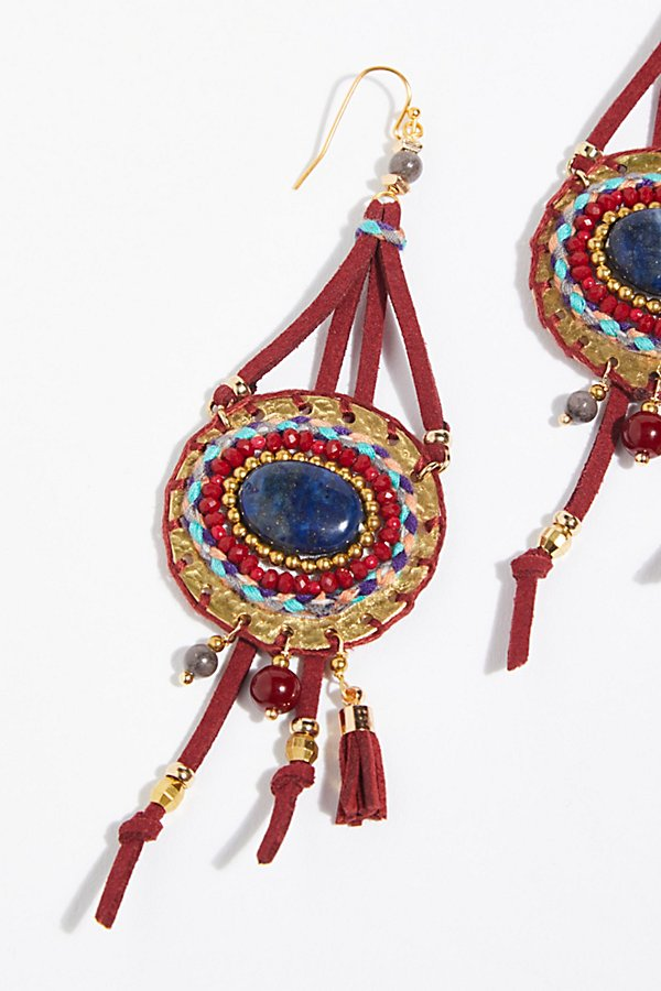 Slide View 3: Beaded Beaches Leather Earrings