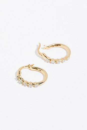 14k 5 Diamond Huggie Hoops